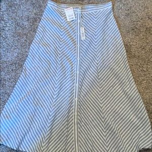 A-line button down skirt...blue and cream striped
